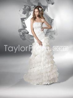 US $195.29 Fabulous Trumpet/Mermaid Floor-Length Strapless Brushing Tiered Net Wedding Dresses