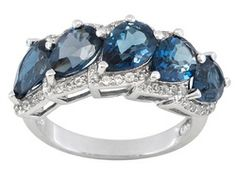 Barehipani Topaz (Tm) 3.90ctw With Whit Topaz .25ctw Sterling Silver 5-stone Style Ring