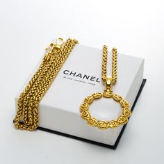 #Chanel gold tone #magnifying #lens #necklace. Available at lxrco.com for $799