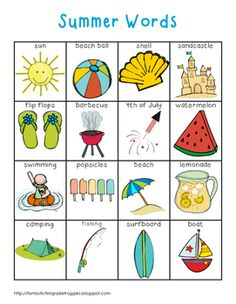 This is a pack of for your writing center or word wall. This is a set of summer words. This pack contains a full page list (color and black and white versions), word strips, and word wall cards. My kids love to use them to help them spell words or Kids English, English Lessons, English Words, Learn English, Kindergarten Writing, Teaching Writing, Teaching English, English Activities, Writing Activities