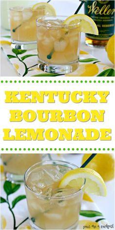 Kentucky Lemonade - Bourbon Cocktail Recipe - Mom 4 Real This Kentucky Lemonade Cocktail Recipe is the perfect cocktail recipe for the summer! Lemonade Cocktail, Cocktail Drinks, Cocktail Recipes, Whiskey Lemonade, Alcoholic Lemonade Drinks, Lynchburg Lemonade, Alcoholic Shots, Alcoholic Desserts, Margarita Recipes