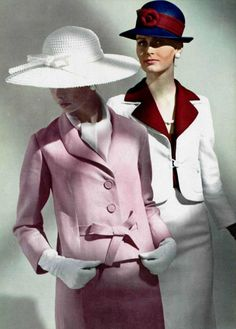 1964 - suit Dior and Yves Saint-Laurent vintage couture designer color photo print ad models magazine fashion style suit outfit pink white red jacket skirt hat gloves shirt 60s