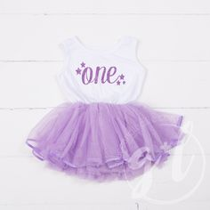 """Birthday Dress Purple Starry Script """"ONE"""" White Sleeveless with attached Purple Tutu - Grace and Lucille Purple Tutu Dress, Pink Tutu, Tulle Tutu, 1st Birthday Dresses, First Birthday Outfits, Girl First Birthday, Birthday Ideas, Dress Outfits, Girl Outfits"""