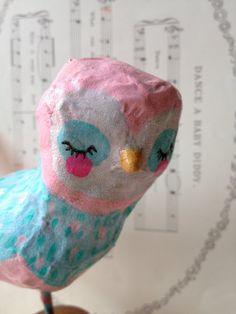 Pink & Blue Birdie  paper mache bird by heartsandneedles on Etsy.