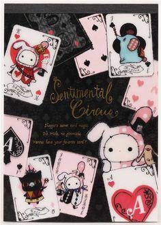 black Sentimental Circus rabbit card game Memo Pad