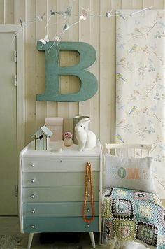 Branchick - we should paint your dresser drawers before you go back to BSU - Painted drawers. Just choose your colors from a paint chip card with gradient colors and then buy the little sample jars of each color. Painted Drawers, Dresser Drawers, Painted Chest, Dresser Ideas, Ikea Dresser, Baby Dresser, Nursery Dresser, Retro Dresser, Dresser Inspiration
