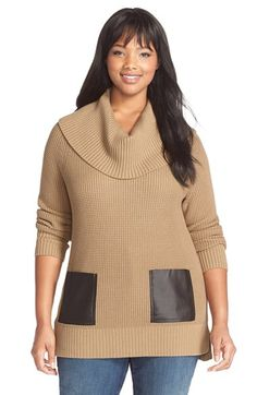 24a8105de6 Plus Size Women s MICHAEL Michael Kors Faux Leather Pocket Cowl Neck Sweater