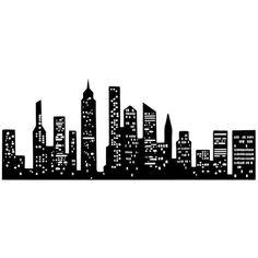 enlarge for windows? New York City Skyline Silhouette Manhattan Tattoo New York Skyline Silhouette, Silhouette City, Batman Silhouette, Building Silhouette, Silhouette Painting, Skyline Painting, Sunrise Painting, Nyc Skyline, City Skyline Art