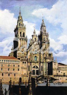 Catedral de Santiago de Compostela/Santiago de Compostela Cathedral. Técnica/Technique: Óleo/Oil on canvas. Tamaño/Dimensións/Size: 46 x 61 cm. Referencia/Referente/Reference: CUADROS0327.
