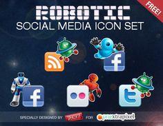 Robotic Social Media Icons Set