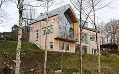 This Swedish house has a large gable-roofed extruded space facing the lake