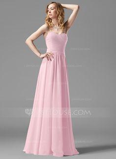 A-Line/Princess Sweetheart Floor-Length Ruffle Zipper Up Strapless Sleeveless No…