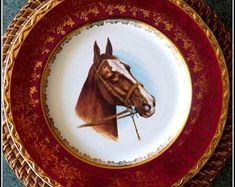 Delux rare equestrian collectible display cabinet unique large dinner plates set, desirable fox hunting china: multicoloured with wide gilded rims Dinner Plate Sets, Dinner Plates, English China, Dinner Themes, Fox Hunting, Pottery Plates, Displaying Collections, Vintage China, Craft