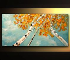 Landscape Painting Blooming White Birch Tree by OsnatFineArt, $420.00