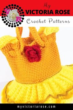 My Victoria Rose Crochet Disney Crochet Patterns, Crochet Purse Patterns, Crochet Purses, Crochet Hats, Princess Belle, Yellow Dress, Beauty And The Beast, Red Roses, Victoria