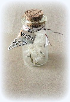 dandelion seeds in a small jar with cork, angel wing, tag tied with bakers twine