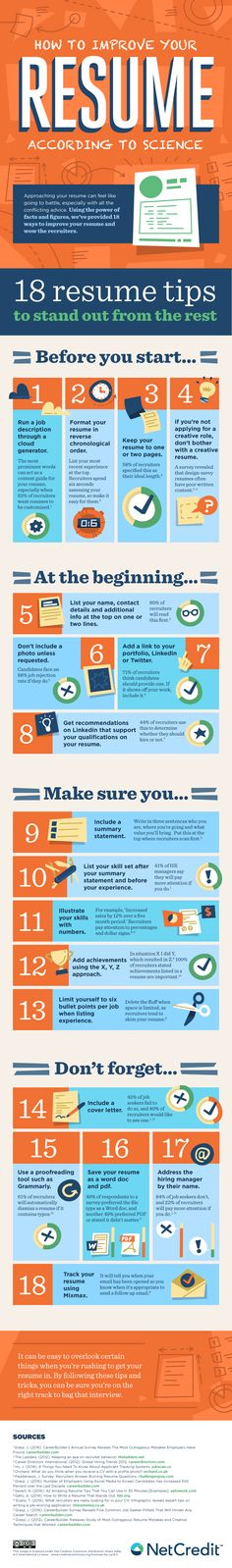 How to Improve Your Resume According to Science #infographic #Resume #Science #Career