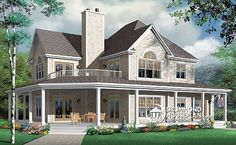 Can you see yourself lounging on that beautiful porch? House plan W3832 by Drummond House Plans