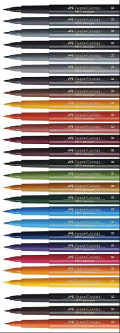 Pitt Brush Pen Colour Chart Graphics Information Hints and Tips Page from Studio Arts