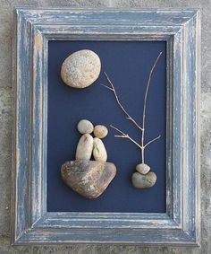"""Pebble Art Couple under tree and sun/moon in a 5x7 """"open"""" wood distressed frame by CrawfordBunch on Etsy"""