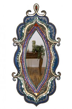 Sharra Frank, GypsyDreams, 2015 Hand sculpted mirror frame covered with Italian glass, mirror, vintage rhinestones, glass beads & brass filigree 22h x 18w