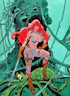 Red Sonja Art by Frank Thorne Red Sonja, Marvel Comics, Comic Book Characters, Comic Books Art, Fantasy Characters, Comic Artist, Artist Art, Conan The Barbarian, Fantasy Comics