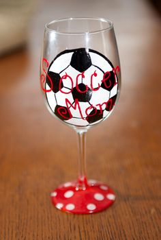 Soccer Mom hand painted Wine glass by TheSparkleFairies on Etsy, $15.00