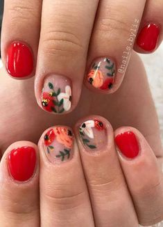 Flower nail art design is the favorite of many women, and its trend of popularity is rising. Although it& fall now, leaves begin to turn yellow and flowers begin to fade, you can still use flower nail art design. In today& article, we have colle Nail Art Designs, Flower Nail Designs, Spring Nails, Summer Nails, Cute Nails, Pretty Nails, Hair And Nails, My Nails, Floral Nail Art