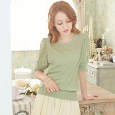 Puffed Elbow-Sleeve Top from #YesStyle <3 Tokyo Fashion YesStyle.com
