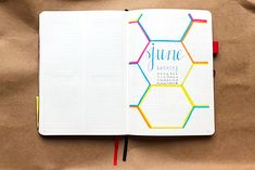 Bullet journal monthly cover page, June cover page. | @booksandabujo