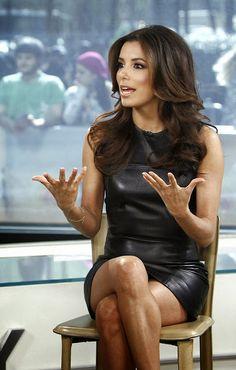 Eva Longoria crossed legs in leather mini dress | Eva Longoria Sexy Legs and Great Curves