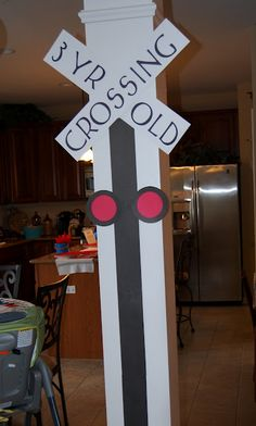 """""""3 yr old crossing""""...perfect idea!  for train birthday party"""