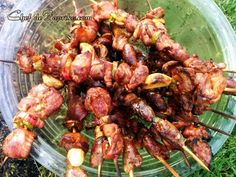 Chicken Gizzard and Hearts Skewers