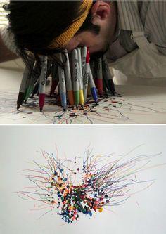 Jared Clark, O Homem que Desenha Com o rosto cheio de canetas Pilot Pens, Drawing Machine, Sharpie Art, Sharpies, Graffiti, Unusual Art, Wow Art, The Draw, Office Art