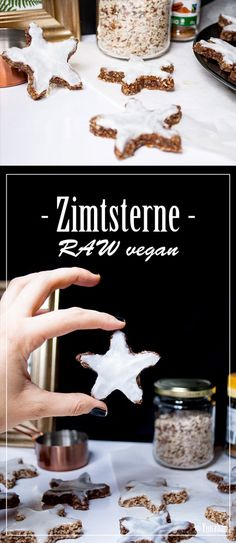 Raw vegan cinnamon stars (Rohkost Zimtsterne) Raw Vegan Recipes, Cinnamon, Gluten Free, Cookies, Healthy, Food, Bakken, Canela, Glutenfree