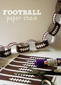 Football Paper Chain #superbowl #party