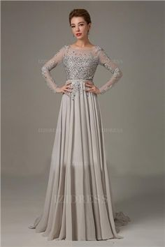 be5154d216 A-Line Princess Scoop Neck Sweep Train Lace Chiffon Zipper Up Sleeves Long  Sleeves No 2015 Silver Spring Fall Winter Mother of the Bride Dress
