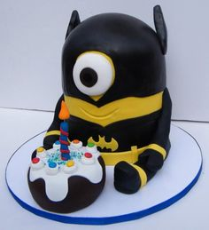Made with much love for my son on his birthday Batman Birthday, Minion Birthday, Minion Party, Birthday Cake Girls, 4th Birthday, Birthday Cakes, Minions, Batman Minion, Marzipan