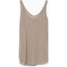 Zara Vest Top found on Polyvore featuring polyvore, fashion, clothing, tops, shirts, tank tops, tanks, tan marl, zara shirts and brown tops