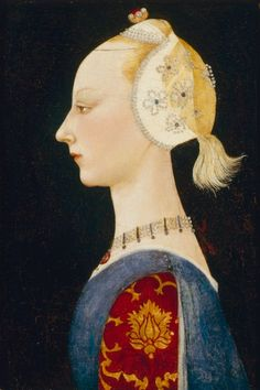 A Young Lady of Fashion, early 1460s, Attributed to Paolo Uccello, Italian (Florence), 1397-1475, Oil on wood, 44.1 x 31.8 cm. Gardner Museum.