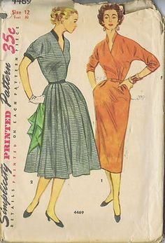 """SIZE 12 BUST 30 WAIST 25 HIP 33""""    Simplicity Pattern  Pattern Number 4469  Copyright: 1953    Vintage 50's One Piece Dress Pattern with Two Skirts    Surplice front and standing collar with fashion fitted bodice.  Kimono type sleeves, View 1, are three-quarter length.  Slim skirt, softly pleated at front waistline, has inverted pleat at center back.  Short kimono sleeves, View 2 have cuffs.  Full skirt is pleated at front waistline.  Collar, cuffs and belt are contrasting fabric."""