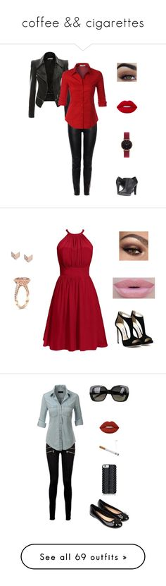 """""""coffee && cigarettes"""" by fashionistaax on Polyvore featuring Alexander McQueen, LE3NO, Nine West, Abbott Lyon, Lime Crime, fillers, cigarettes, smoking, accessories and extras"""