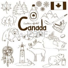 Fun sketch collection of Canada icons, countries alphabet Zdjęcie Seryjne - 29841151 Bullet Journal Canada, Bullet Journal Travel, Bullet Journal Contents, Wood Carving For Beginners, Travel Journal Scrapbook, Alphabet Photos, Family World, Travel Sketchbook, Pen Pal Letters