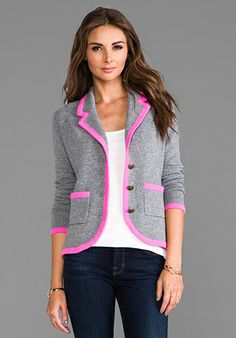 Autumn Cashmere Contrast Tipped Blazer in Cement/Shock