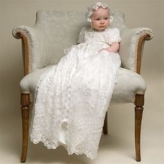 Caroline Christening Gown & Bonnet  Gorgeous Handmade in the US