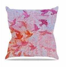 "East Urban Home Bird's Dream by Marianna Tankelevich Throw Pillow Size: 16"" H x 16"" W x 4"" D"