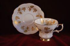 Vintage Elegant Royal Albert Teacup Saucer Grey Blue Gold Lyric Shape No 4136 | eBay
