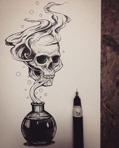 55 Ideas pop art drawings skull for 2019 Dark Art Drawings, Pencil Art Drawings, Art Drawings Sketches, Cool Skull Drawings, Cool Tattoo Drawings, Dark Art Tattoo, Skull Tattoo Design, Tattoo Designs, Tattoo Ideas