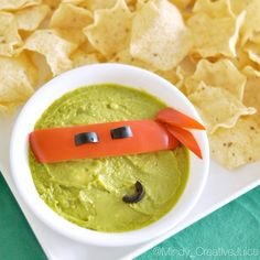 TMNT Ninja Guac- trust me your kids will love it!!! Make it with guacamole, cut red pepper, and sliced olives! (From my son'a TMNT party - direct link in profile)
