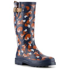 Chooka Playful Foxes Rain Boot (925 MXN) ❤ liked on Polyvore featuring shoes, boots, chooka shoes, rain boots, wellies boots, wellington boots and wellies shoes